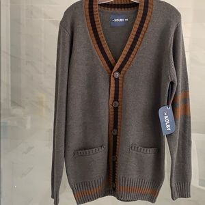 NWT   Button Up Athletic Striped Cardigan New!